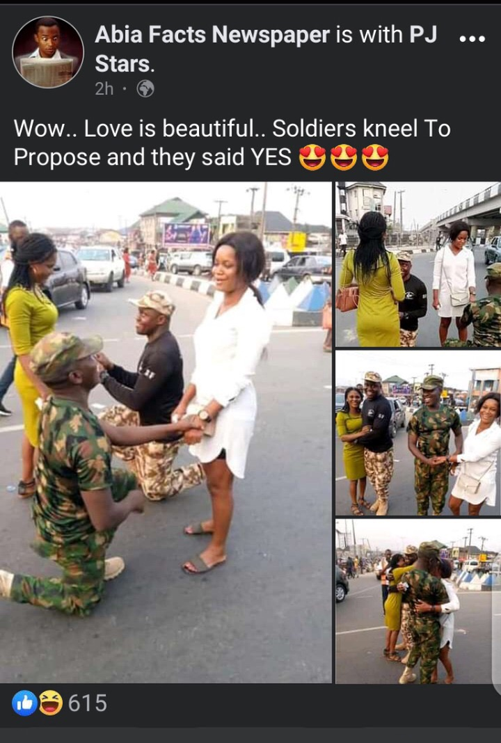 Two Nigerian soldiers propose to their girlfriends on the street in Delta state (Photos)